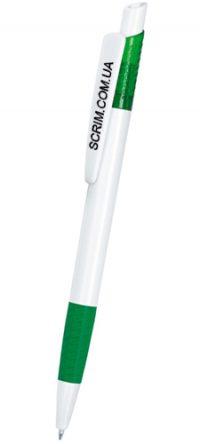 Ручки шариковые, цвет бело-зеленый