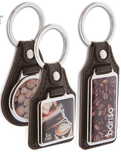 Брелоки кожаные с металлической вставкой и лого - сувенирная продукция с логотипом