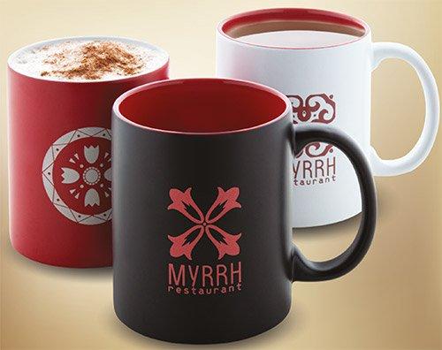 сувенирная продукция с логотипом - керамические чашки с деколем
